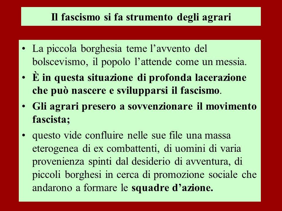 Il fascismo si fa strumento degli agrari La piccola borghesia teme lavvento del bolscevismo, il popolo lattende come un messia. È in questa situazione
