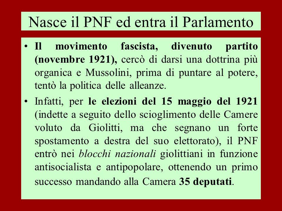 Nasce il PNF ed entra il Parlamento Il movimento fascista, divenuto partito (novembre 1921), cercò di darsi una dottrina più organica e Mussolini, pri