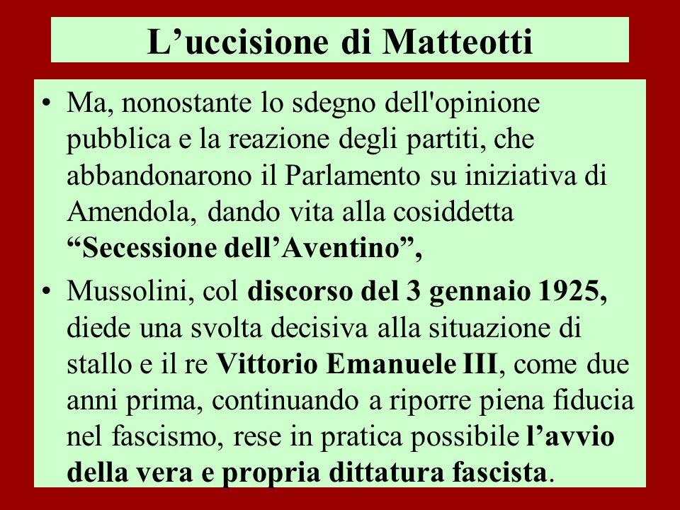 Luccisione di Matteotti Ma, nonostante lo sdegno dell'opinione pubblica e la reazione degli partiti, che abbandonarono il Parlamento su iniziativa di