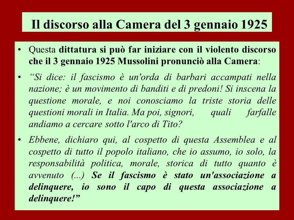 Il discorso alla Camera del 3 gennaio 1925 Questa dittatura si può far iniziare con il violento discorso che il 3 gennaio 1925 Mussolini pronunciò all