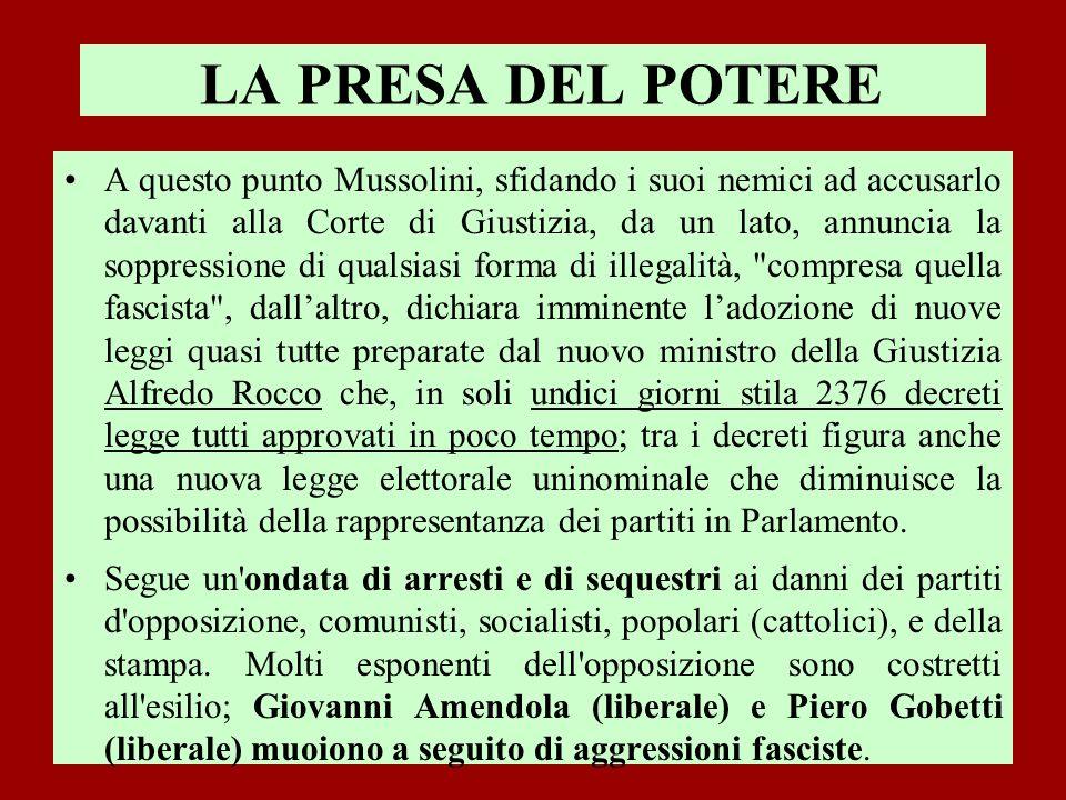 LA PRESA DEL POTERE A questo punto Mussolini, sfidando i suoi nemici ad accusarlo davanti alla Corte di Giustizia, da un lato, annuncia la soppression