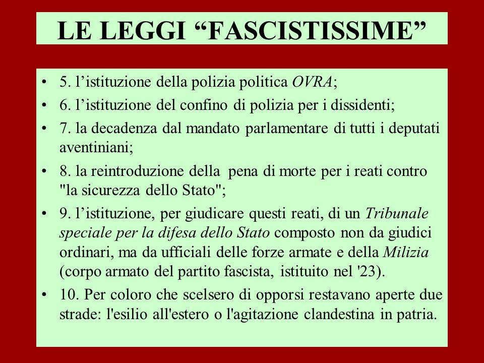 LE LEGGI FASCISTISSIME 5. listituzione della polizia politica OVRA; 6. listituzione del confino di polizia per i dissidenti; 7. la decadenza dal manda