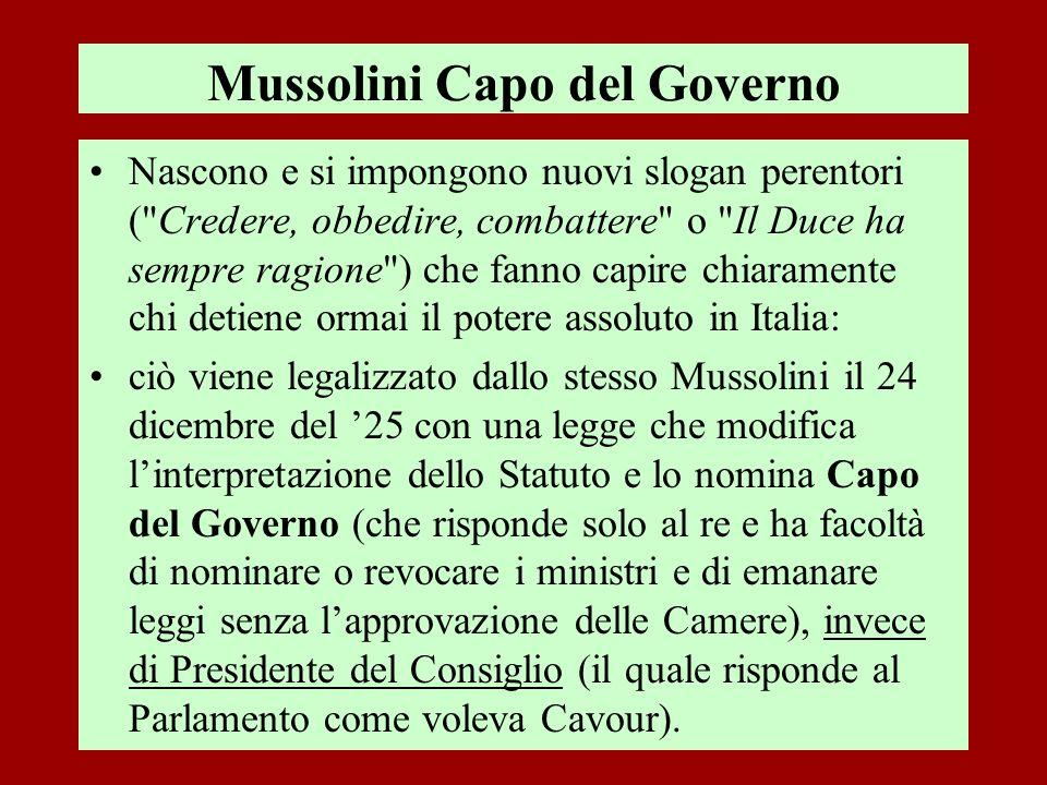 Mussolini Capo del Governo Nascono e si impongono nuovi slogan perentori (