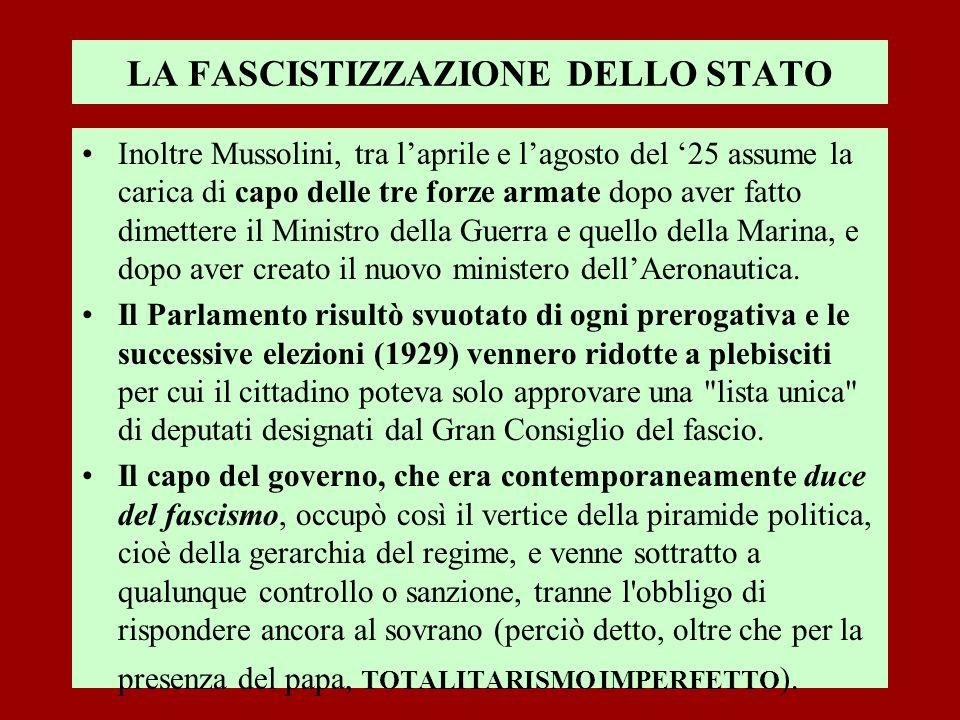 LA FASCISTIZZAZIONE DELLO STATO Inoltre Mussolini, tra laprile e lagosto del 25 assume la carica di capo delle tre forze armate dopo aver fatto dimett