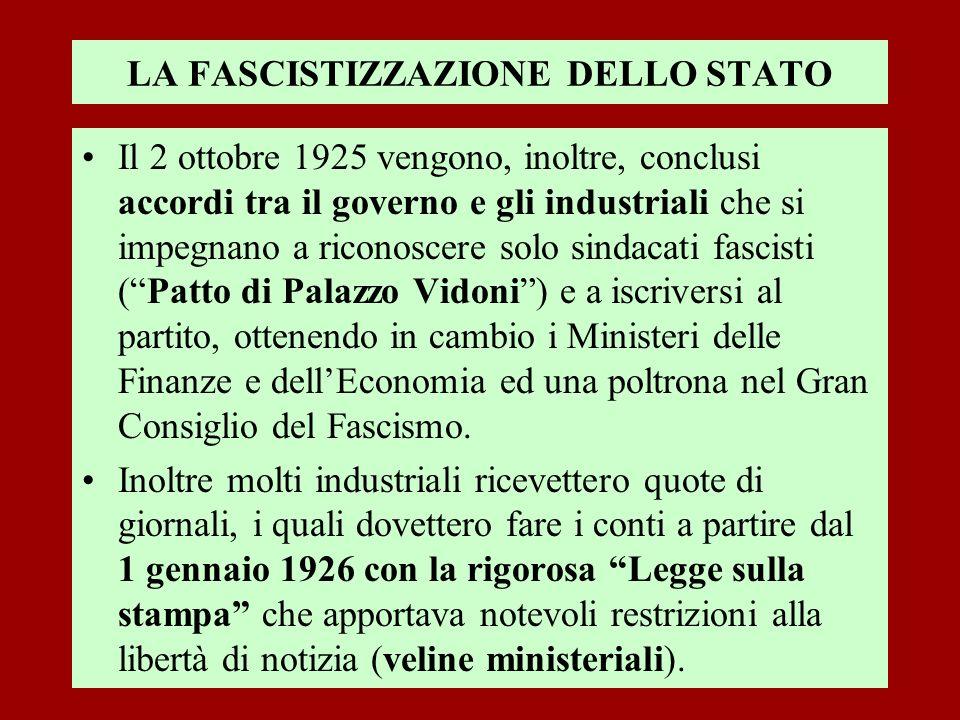 LA FASCISTIZZAZIONE DELLO STATO Il 2 ottobre 1925 vengono, inoltre, conclusi accordi tra il governo e gli industriali che si impegnano a riconoscere s