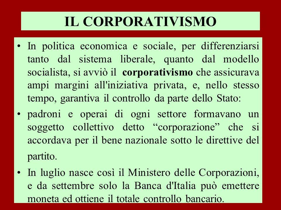 IL CORPORATIVISMO In politica economica e sociale, per differenziarsi tanto dal sistema liberale, quanto dal modello socialista, si avviò il corporati