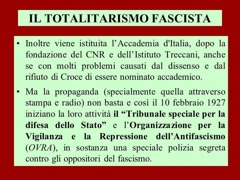 IL TOTALITARISMO FASCISTA Inoltre viene istituita lAccademia d'Italia, dopo la fondazione del CNR e dellIstituto Treccani, anche se con molti problemi