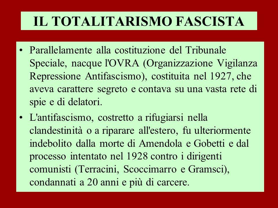 IL TOTALITARISMO FASCISTA Parallelamente alla costituzione del Tribunale Speciale, nacque l'OVRA (Organizzazione Vigilanza Repressione Antifascismo),
