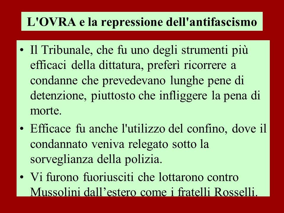 L'OVRA e la repressione dell'antifascismo Il Tribunale, che fu uno degli strumenti più efficaci della dittatura, preferì ricorrere a condanne che prev