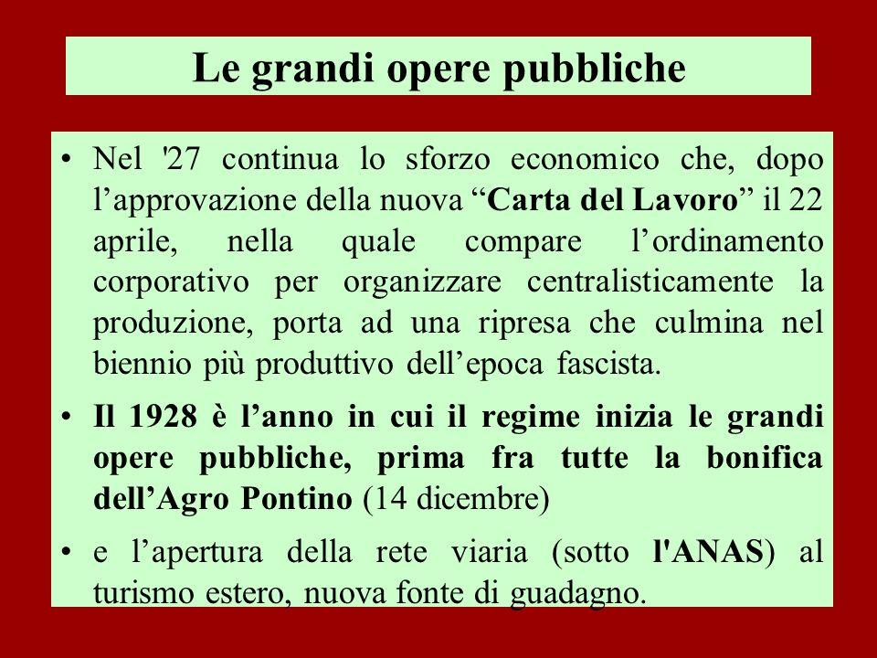 Le grandi opere pubbliche Nel '27 continua lo sforzo economico che, dopo lapprovazione della nuova Carta del Lavoro il 22 aprile, nella quale compare