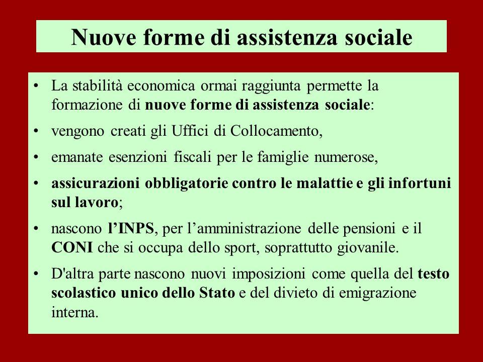Nuove forme di assistenza sociale La stabilità economica ormai raggiunta permette la formazione di nuove forme di assistenza sociale: vengono creati g