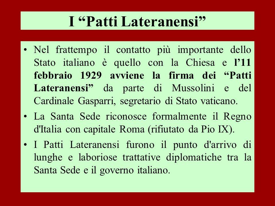 I Patti Lateranensi Nel frattempo il contatto più importante dello Stato italiano è quello con la Chiesa e l11 febbraio 1929 avviene la firma dei Patt