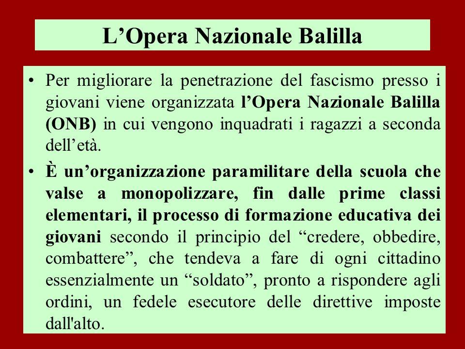 LOpera Nazionale Balilla Per migliorare la penetrazione del fascismo presso i giovani viene organizzata lOpera Nazionale Balilla (ONB) in cui vengono