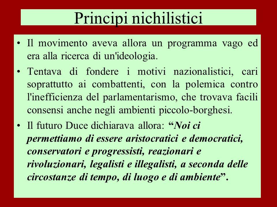 La ricerca di alleanze politiche Mussolini, oltre a interpretare gli ideali patriottici della piccola borghesia, capì la debolezza della classe dirigente, incapace di stabilizzare la situazione economica e sociale del dopoguerra, e progettò di sostituirsi ad essa.