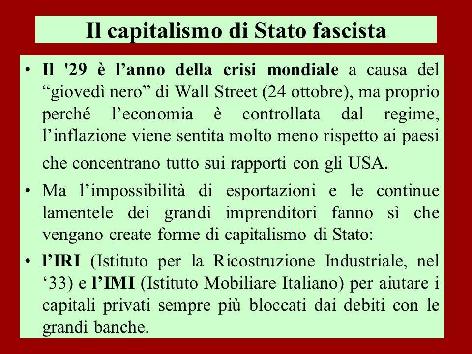 Il capitalismo di Stato fascista Il '29 è lanno della crisi mondiale a causa del giovedì nero di Wall Street (24 ottobre), ma proprio perché leconomia