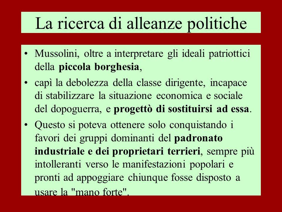 La ricerca di alleanze politiche Mussolini, oltre a interpretare gli ideali patriottici della piccola borghesia, capì la debolezza della classe dirige