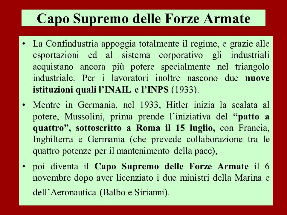 Capo Supremo delle Forze Armate La Confindustria appoggia totalmente il regime, e grazie alle esportazioni ed al sistema corporativo gli industriali a