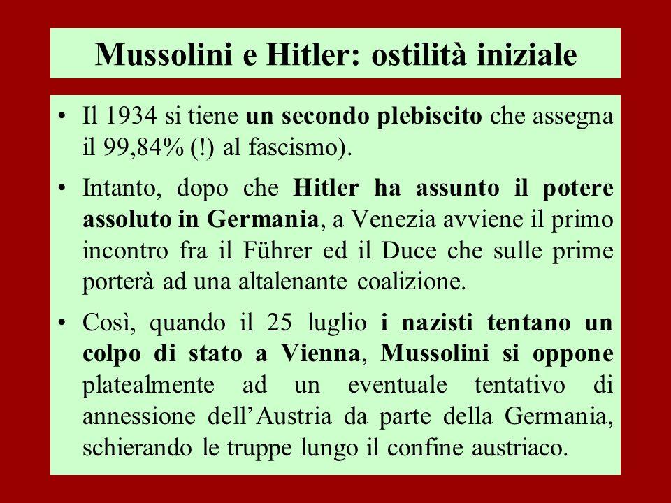 Mussolini e Hitler: ostilità iniziale Il 1934 si tiene un secondo plebiscito che assegna il 99,84% (!) al fascismo). Intanto, dopo che Hitler ha assun