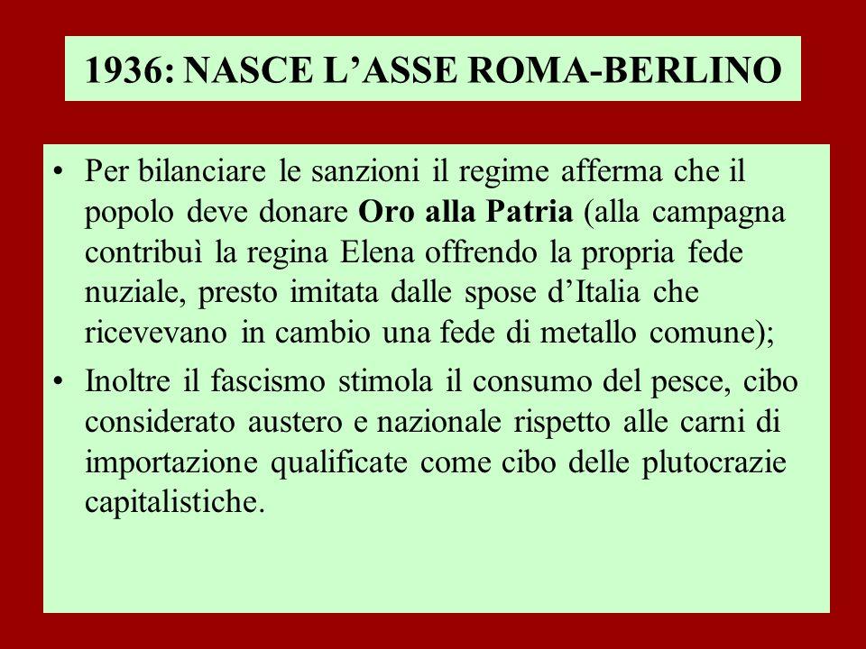 1936: NASCE LASSE ROMA-BERLINO Per bilanciare le sanzioni il regime afferma che il popolo deve donare Oro alla Patria (alla campagna contribuì la regi