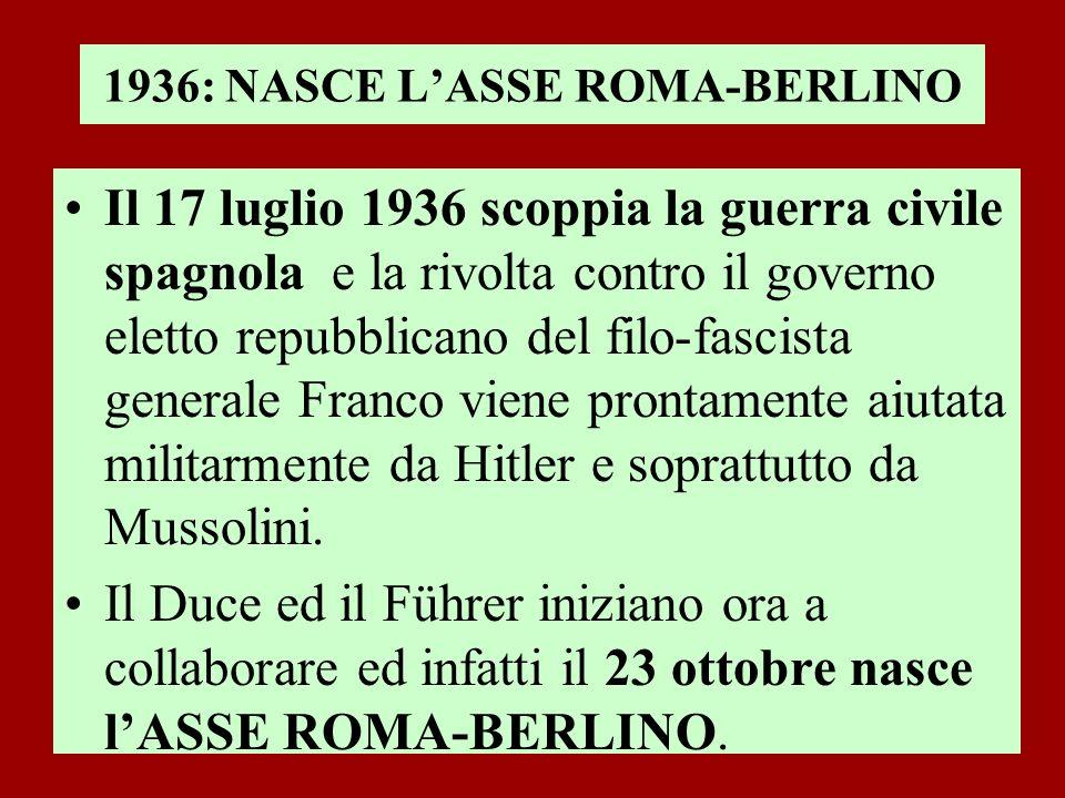 1936: NASCE LASSE ROMA-BERLINO Il 17 luglio 1936 scoppia la guerra civile spagnola e la rivolta contro il governo eletto repubblicano del filo-fascist