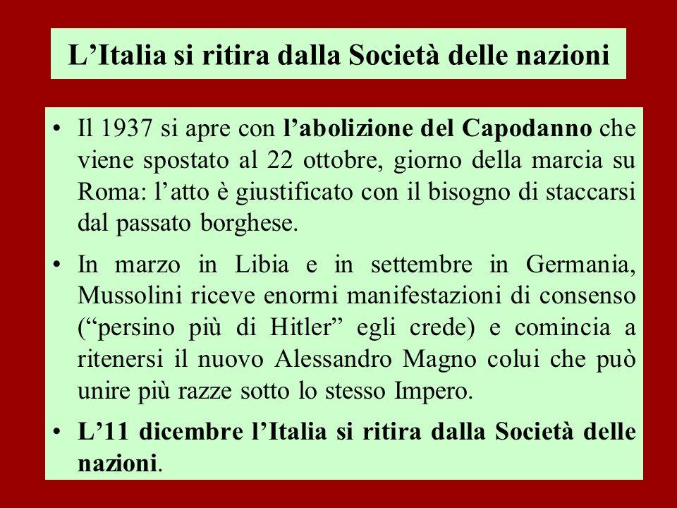LItalia si ritira dalla Società delle nazioni Il 1937 si apre con labolizione del Capodanno che viene spostato al 22 ottobre, giorno della marcia su R