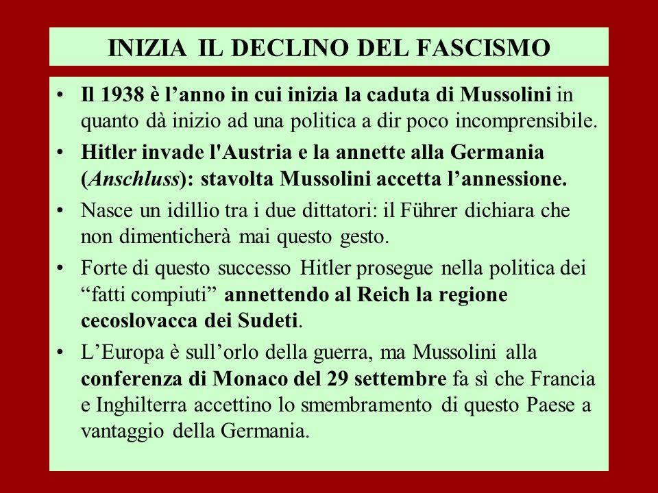 INIZIA IL DECLINO DEL FASCISMO Il 1938 è lanno in cui inizia la caduta di Mussolini in quanto dà inizio ad una politica a dir poco incomprensibile. Hi