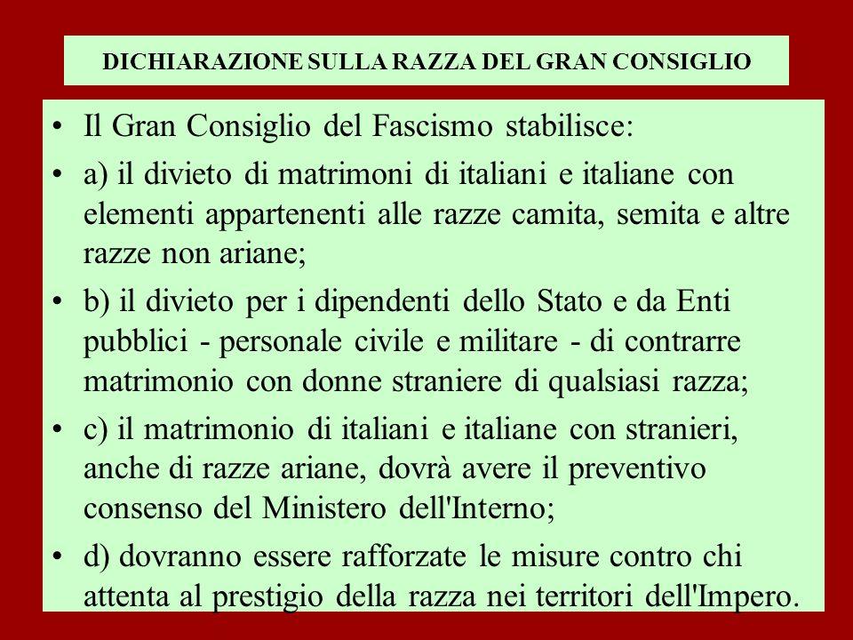 DICHIARAZIONE SULLA RAZZA DEL GRAN CONSIGLIO Il Gran Consiglio del Fascismo stabilisce: a) il divieto di matrimoni di italiani e italiane con elementi