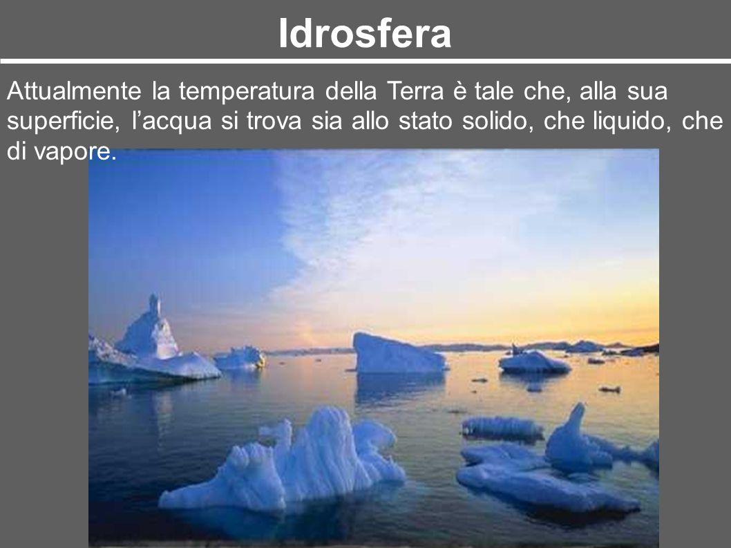 Idrosfera Attualmente la temperatura della Terra è tale che, alla sua superficie, lacqua si trova sia allo stato solido, che liquido, che di vapore.