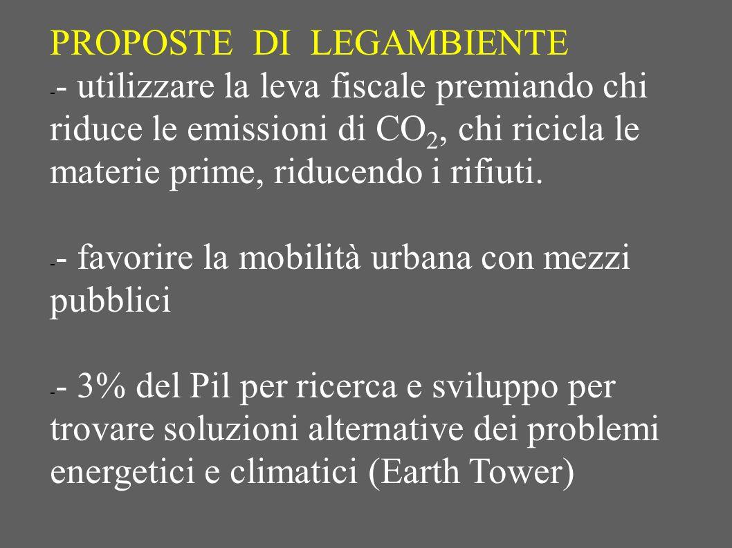PROPOSTE DI LEGAMBIENTE - - utilizzare la leva fiscale premiando chi riduce le emissioni di CO 2, chi ricicla le materie prime, riducendo i rifiuti. -