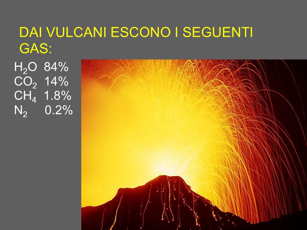 DAI VULCANI ESCONO I SEGUENTI GAS: H 2 O 84% CO 2 14% CH 4 1.8% N 2 0.2%
