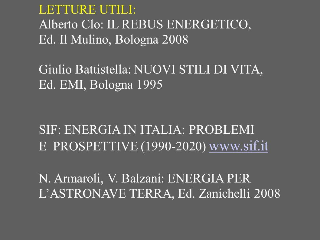 LETTURE UTILI: Alberto Clo: IL REBUS ENERGETICO, Ed. Il Mulino, Bologna 2008 Giulio Battistella: NUOVI STILI DI VITA, Ed. EMI, Bologna 1995 SIF: ENERG