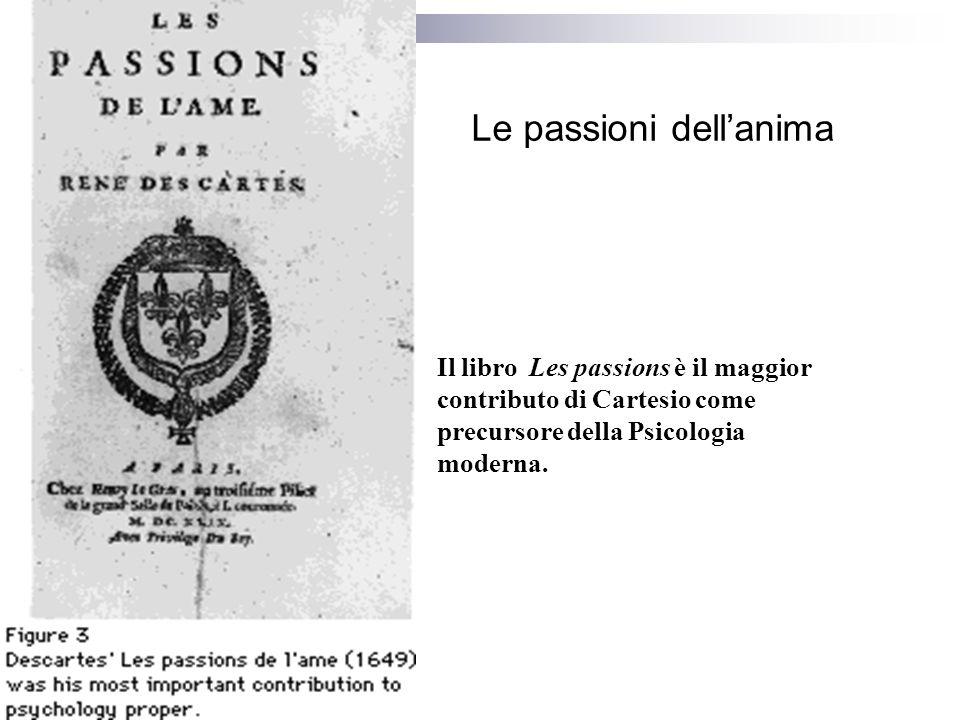 Le passioni dellanima Il libro Les passions è il maggior contributo di Cartesio come precursore della Psicologia moderna.