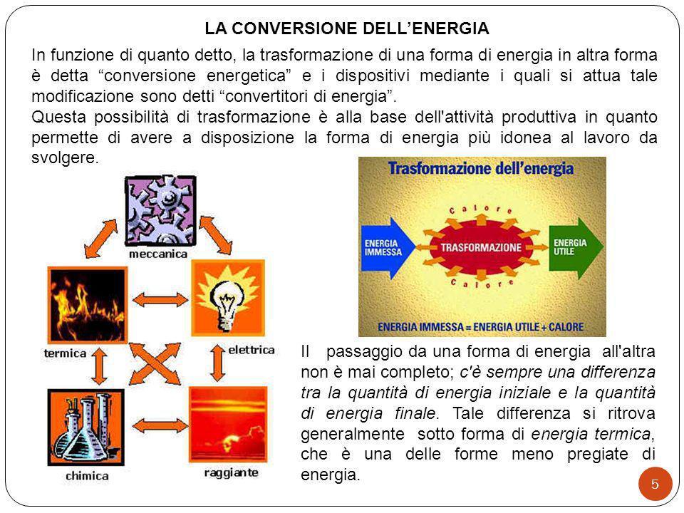 In funzione di quanto detto, la trasformazione di una forma di energia in altra forma è detta conversione energetica e i dispositivi mediante i quali