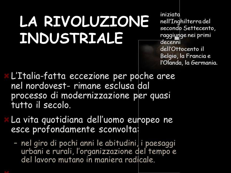 LA RIVOLUZIONE INDUSTRIALE LItalia-fatta eccezione per poche aree nel nordovest- rimane esclusa dal processo di modernizzazione per quasi tutto il sec