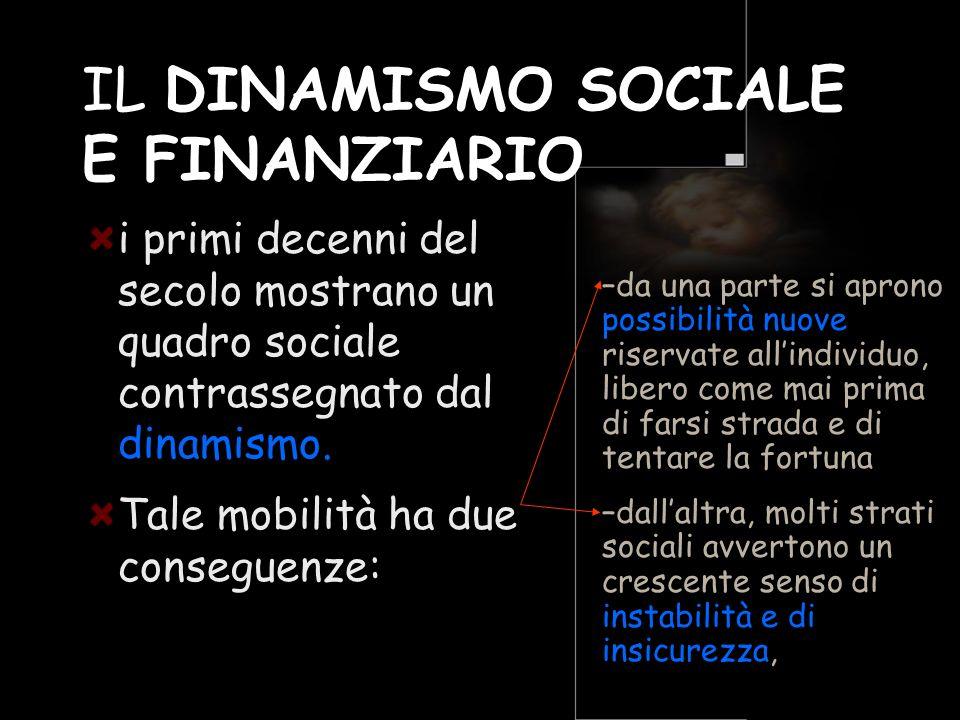 IL DINAMISMO SOCIALE E FINANZIARIO i primi decenni del secolo mostrano un quadro sociale contrassegnato dal dinamismo. Tale mobilità ha due conseguenz