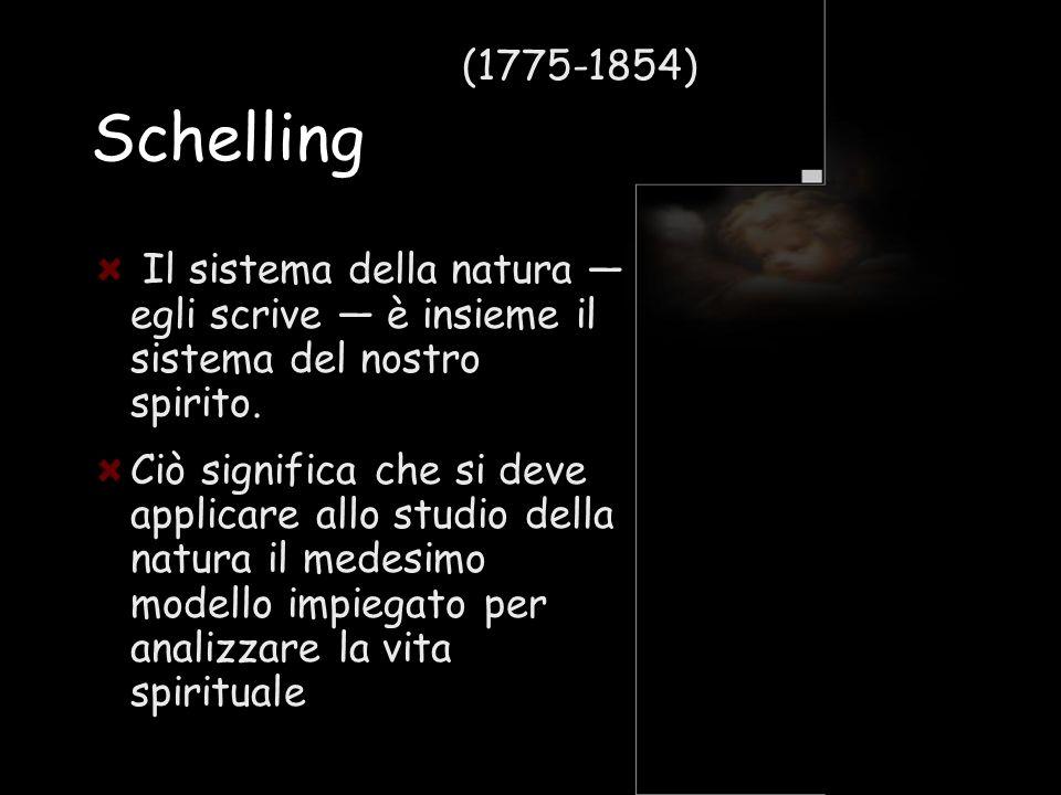 Schelling Il sistema della natura egli scrive è insieme il sistema del nostro spirito. Ciò significa che si deve applicare allo studio della natura il