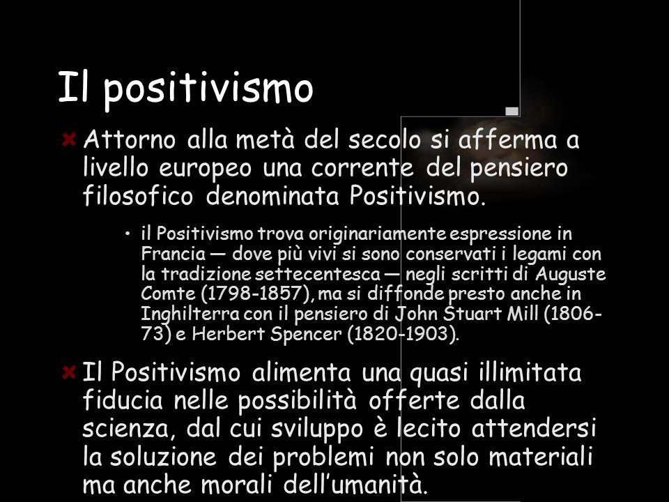 Il positivismo Attorno alla metà del secolo si afferma a livello europeo una corrente del pensiero filosofico denominata Positivismo. il Positivismo t