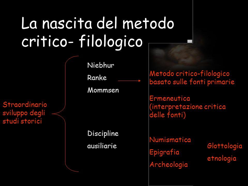 La nascita del metodo critico- filologico Straordinario sviluppo degli studi storici Niebhur Ranke Mommsen Metodo critico-filologico basato sulle font
