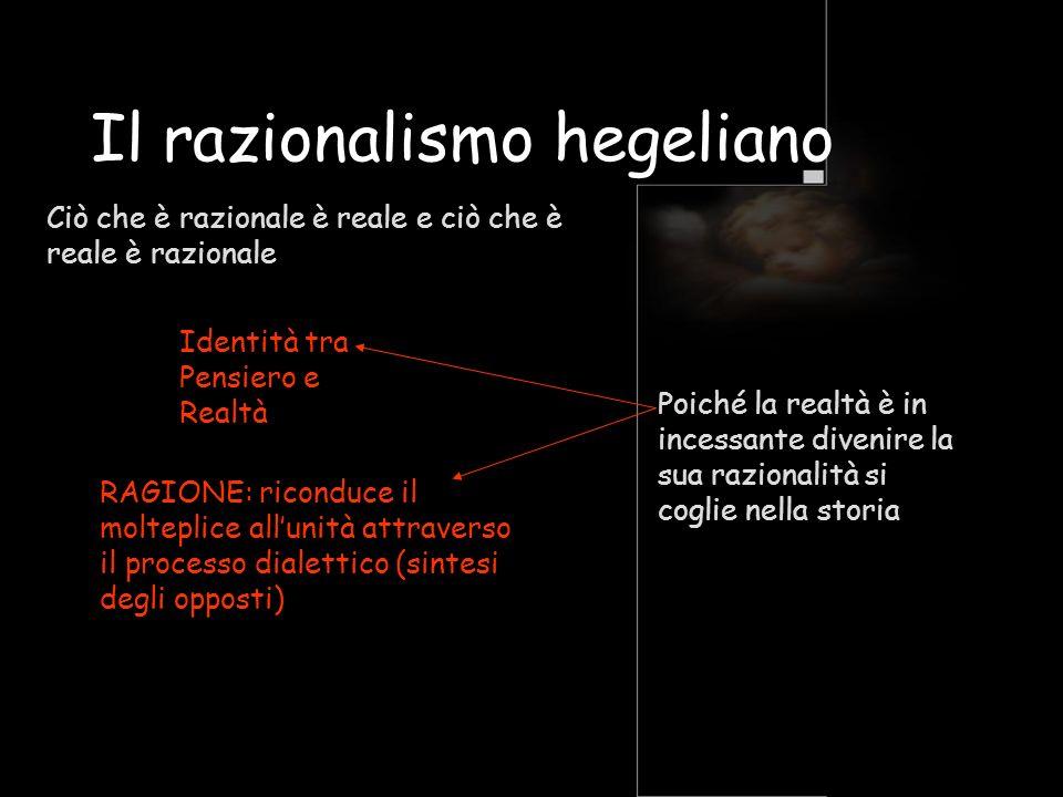 Il razionalismo hegeliano Ciò che è razionale è reale e ciò che è reale è razionale Identità tra Pensiero e Realtà RAGIONE: riconduce il molteplice al