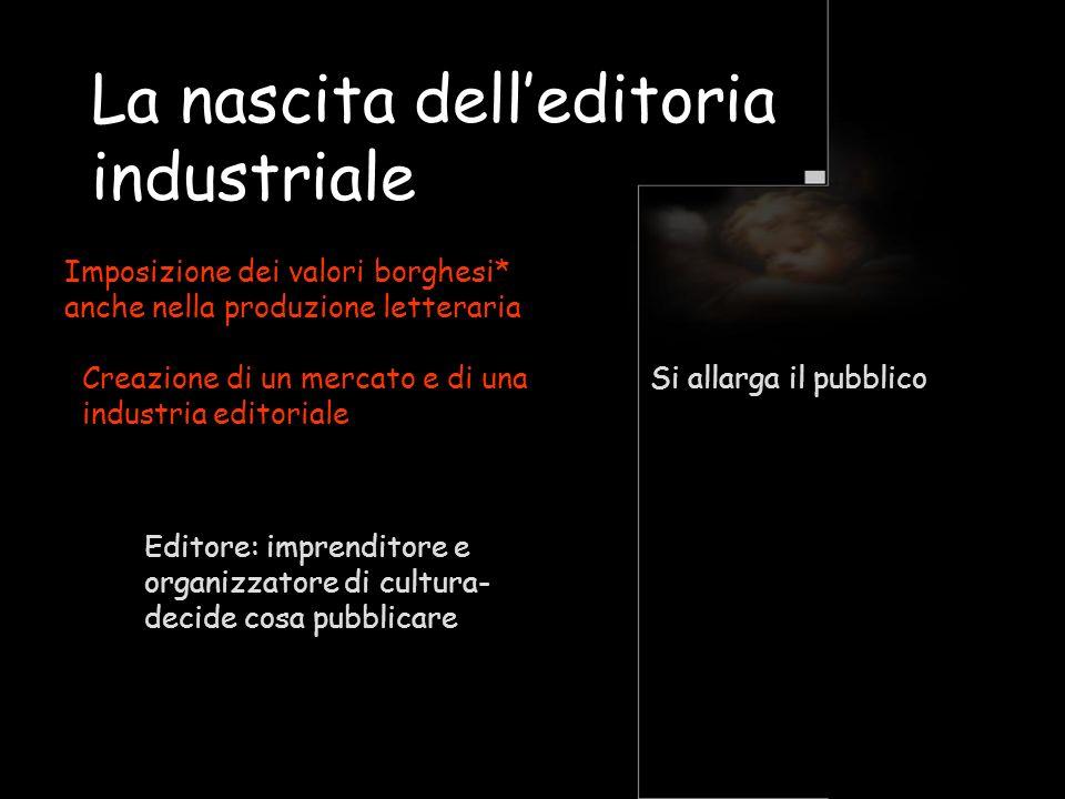 La nascita delleditoria industriale Imposizione dei valori borghesi* anche nella produzione letteraria Creazione di un mercato e di una industria edit