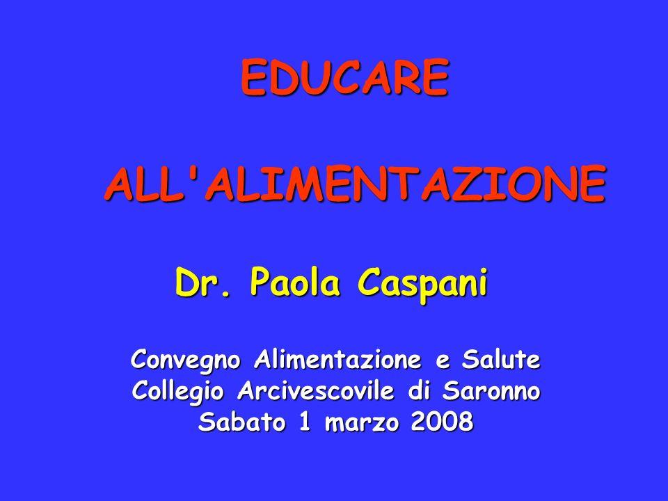 EDUCARE ALL'ALIMENTAZIONE Dr. Paola Caspani Convegno Alimentazione e Salute Collegio Arcivescovile di Saronno Sabato 1 marzo 2008