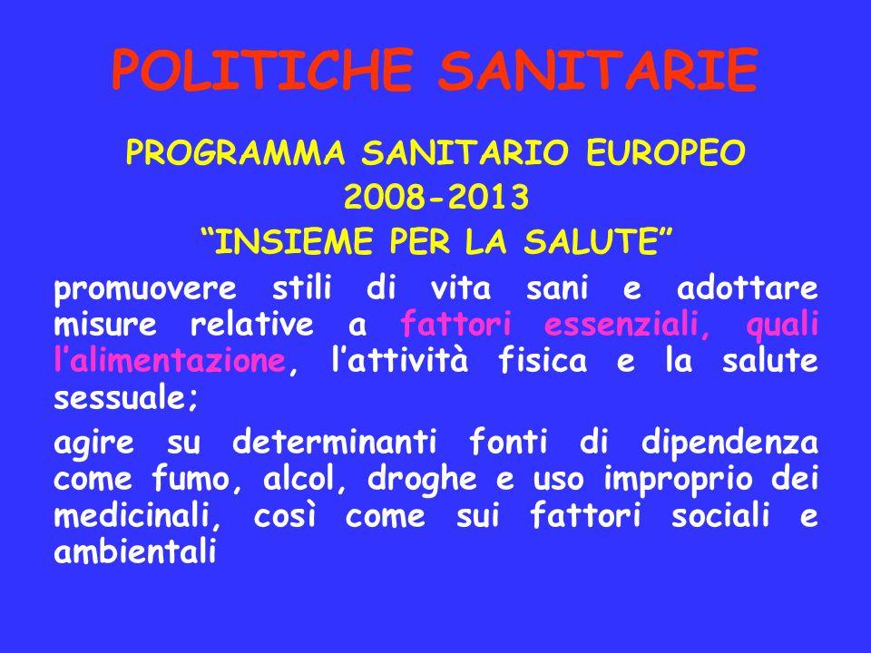 POLITICHE SANITARIE PROGRAMMA SANITARIO EUROPEO 2008-2013 INSIEME PER LA SALUTE promuovere stili di vita sani e adottare misure relative a fattori ess