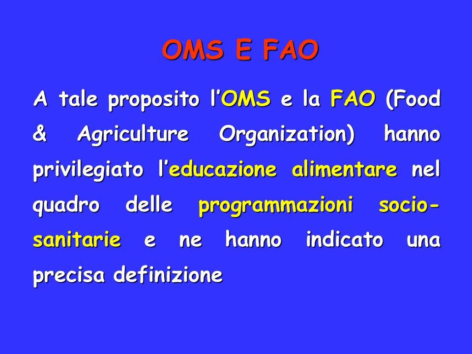 OMS E FAO A tale proposito lOMS e la FAO (Food & Agriculture Organization) hanno privilegiato leducazione alimentare nel quadro delle programmazioni s