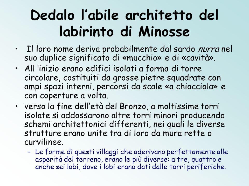 Dedalo labile architetto del labirinto di Minosse Il loro nome deriva probabilmente dal sardo nurra nel suo duplice significato di «mucchio» e di «cav