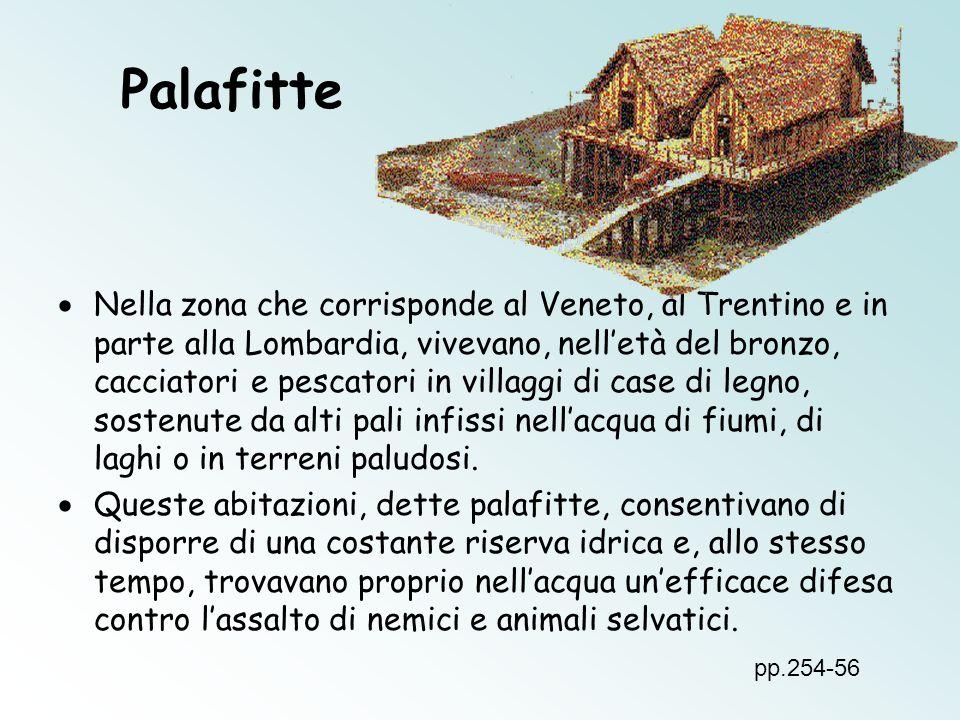 Palafitte Nella zona che corrisponde al Veneto, al Trentino e in parte alla Lombardia, vivevano, nelletà del bronzo, cacciatori e pescatori in villagg