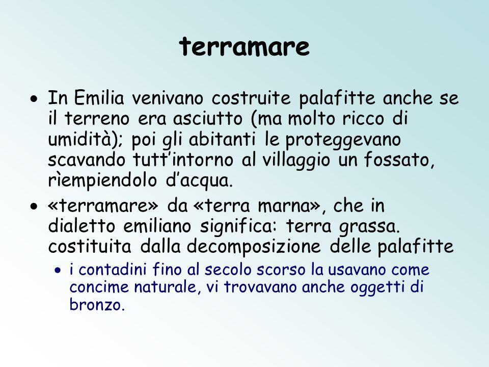 terramare In Emilia venivano costruite palafitte anche se il terreno era asciutto (ma molto ricco di umidità); poi gli abitanti le proteggevano scavan