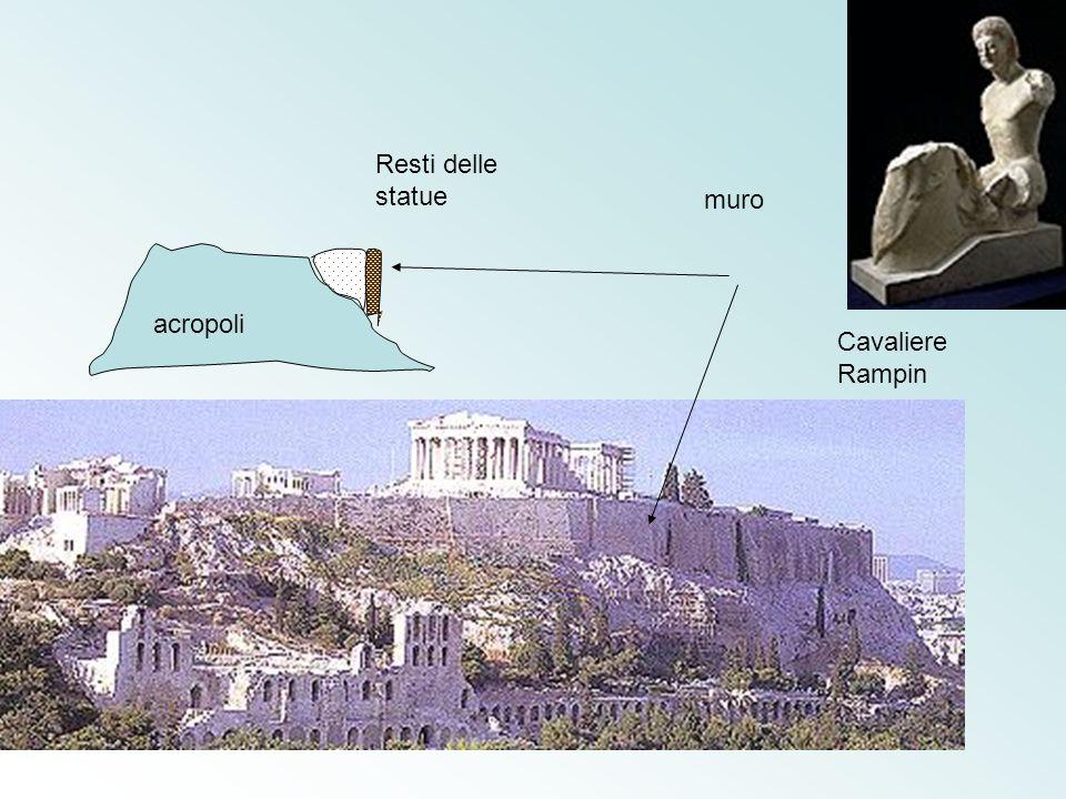 muro Resti delle statue acropoli Cavaliere Rampin