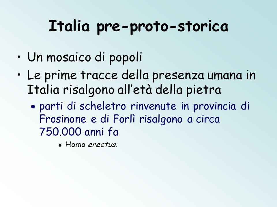 Italia pre-proto-storica Un mosaico di popoli Le prime tracce della presenza umana in Italia risalgono alletà della pietra parti di scheletro rinvenut