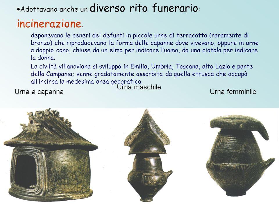 Urna a capanna Urna maschile Urna femminile Adottavano anche un diverso rito funerario : incinerazione. deponevano le ceneri dei defunti in piccole ur