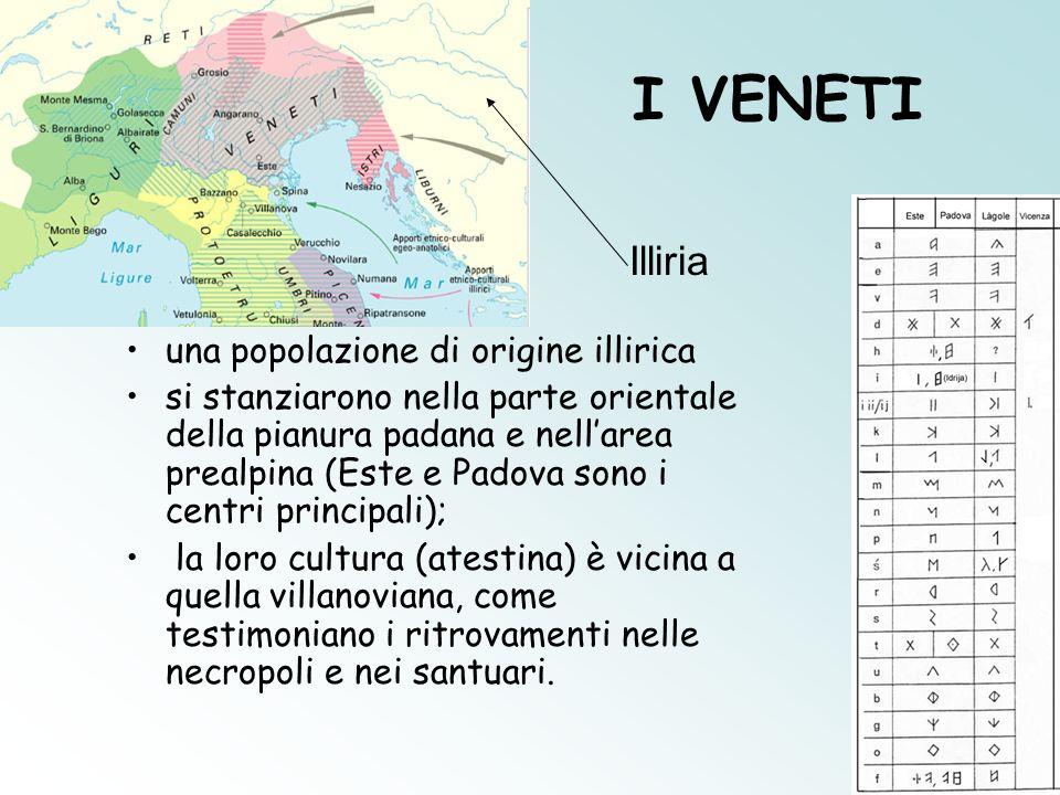 I VENETI una popolazione di origine illirica si stanziarono nella parte orientale della pianura padana e nellarea prealpina (Este e Padova sono i cent
